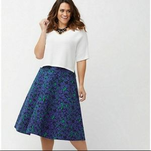 Lane Bryant Blue Floral Print Flare Circle Skirt